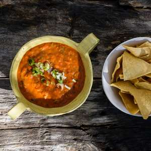 Crisp homemade tortilla chips & salsa